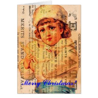 Menina com arte de Digitas da propaganda da pomba, Cartão Comemorativo
