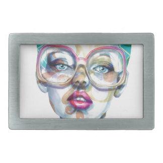Menina com arte Funky do Watercolour dos vidros