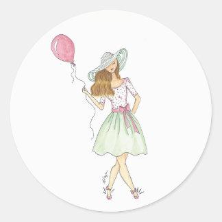 Menina com balão - etiquetas