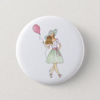 Menina com balão - pino bóton redondo 5.08cm