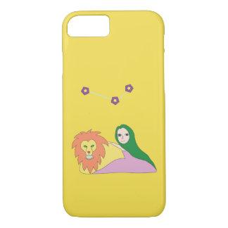 Menina com capa de telefone do leão