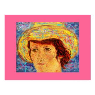 menina com chapéu de Van Gogh Cartão Postal