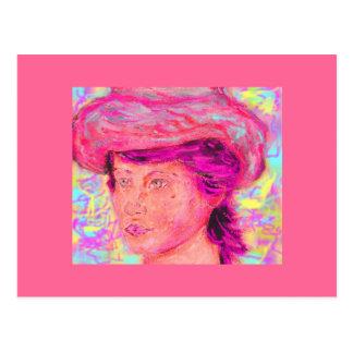 menina com chapéu do renoir cartão postal
