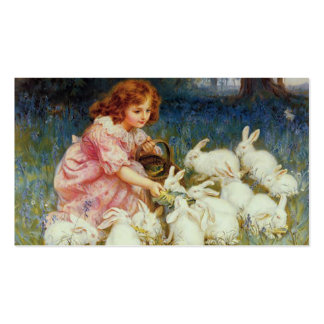 Menina com coelhos modelos cartão de visita