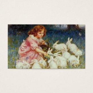 Menina com coelhos cartão de visitas