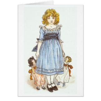 Menina com duas bonecas, cartão