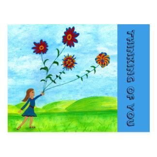 """""""Menina com flores"""" que pensa de você cartão"""
