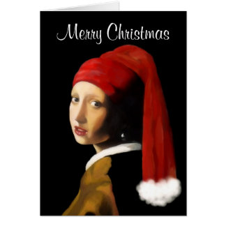 Menina com o cartão de Natal do brinco da pérola