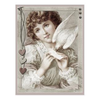 Cartão Postal Menina com o cartão dos namorados do pombo de