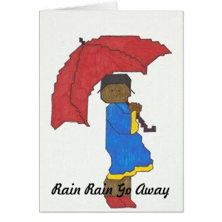 Menina com o cartão vermelho do guarda-chuva