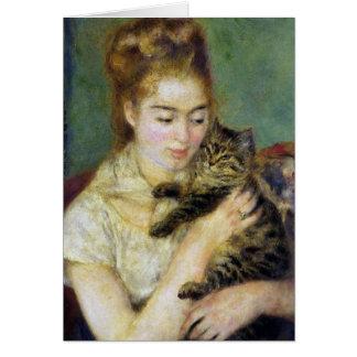 Menina com o gato por Renoir Cartão