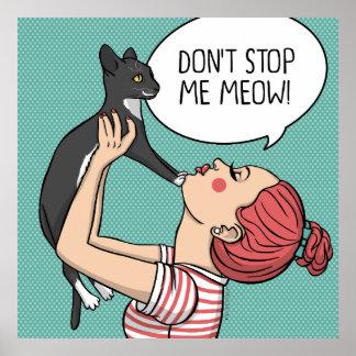 Menina com o poster rude da ilustração do gato
