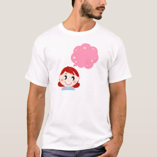 Menina com tshirt da bolha camiseta