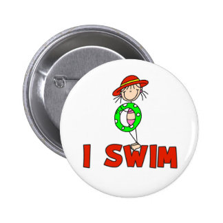 Menina com tubo eu nado o botão bóton redondo 5.08cm