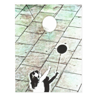 Menina com um balão cartão postal