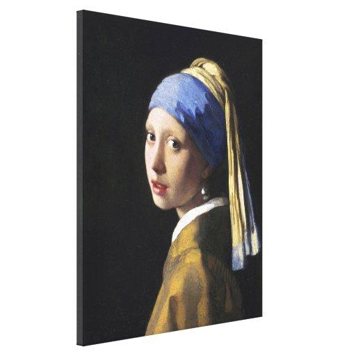 Menina com um brinco da pérola, janeiro Vermeer Impressão De Canvas Envolvida