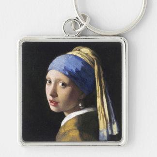 Menina com um brinco da pérola, janeiro Vermeer Chaveiro Quadrado Na Cor Prata
