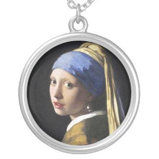 Menina com um brinco da pérola, janeiro Vermeer Colar Com Pendente Redondo