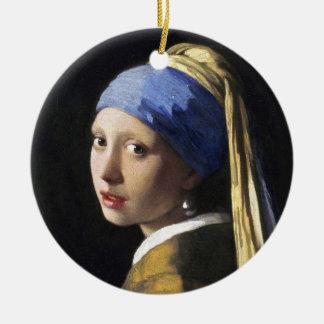 Menina com um brinco da pérola, janeiro Vermeer Ornamento De Cerâmica Redondo