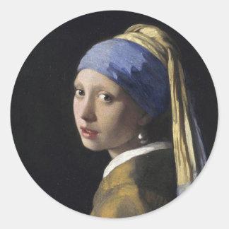 Menina com um brinco da pérola por Johannes Adesivo