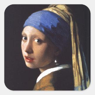 Menina com um brinco da pérola, por Vermeer Adesivo Quadrado