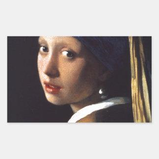 Menina com um brinco da pérola, por Vermeer Adesivo Retangular