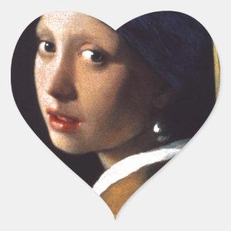 Menina com um brinco da pérola por Vermeer Adesivos De Corações