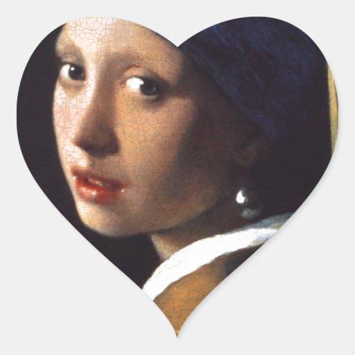 Menina com um brinco da pérola, por Vermeer Adesivos Em Forma De Corações