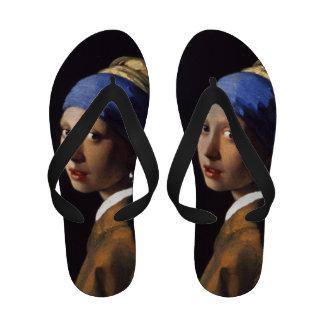 Menina com um brinco da pérola por Vermeer Sandalias De Praia