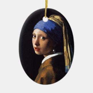 Menina com um brinco da pérola, por Vermeer Ornamento De Cerâmica Oval