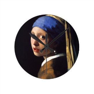 Menina com um brinco da pérola por Vermeer Relógios Para Pendurar