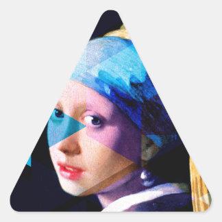 Menina com um brinco da pérola REMIXED Adesivo Triangular