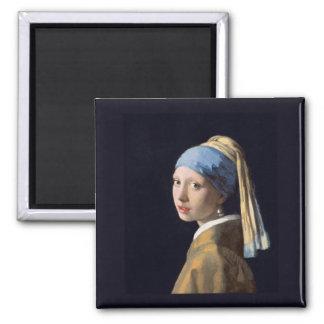 Menina com um brinco da pérola, Vermeer Ímã Quadrado