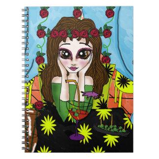 Menina com um caderno da bebida (80 páginas B&W)