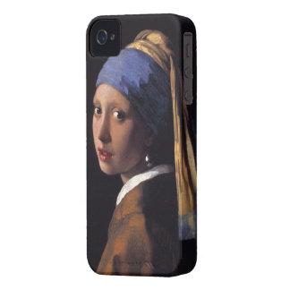 Menina com um capa de iphone 4 do brinco da pérola capinhas iPhone 4