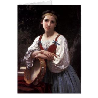 Menina com um cilindro Basque pelo cartão de
