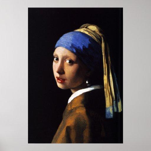 Menina com um poster do brinco da pérola