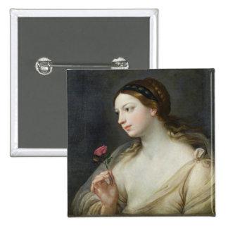Menina com um rosa (óleo em canvas) bóton quadrado 5.08cm