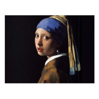 Menina com uma pintura do brinco da pérola por cartão postal