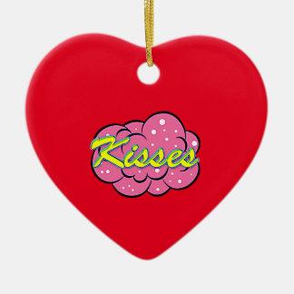 Menina cómica ornamento de cerâmica coração