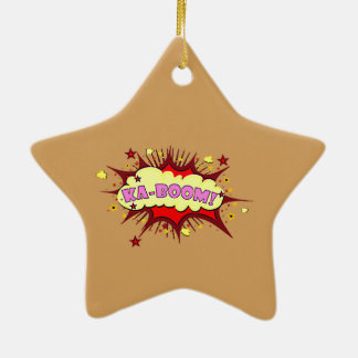 Menina cómica ornamento de cerâmica estrela