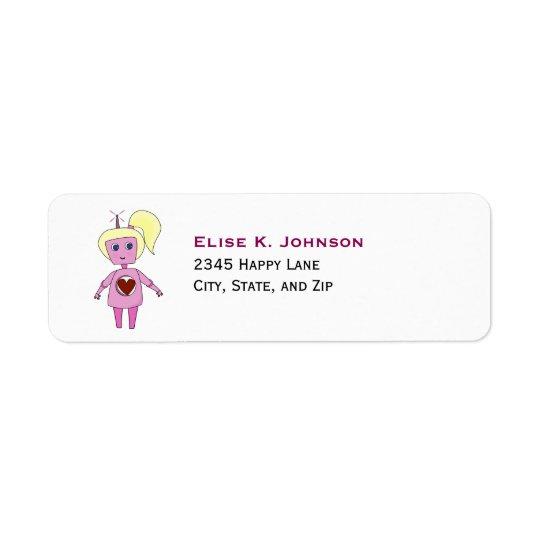 Menina cor-de-rosa bonito do robô da ficção etiqueta endereço de retorno