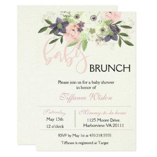 Menina cor-de-rosa floral do convite da refeição