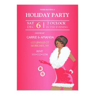"""Menina cor-de-rosa """"sexy"""" da forma do Natal do Convite 12.7 X 17.78cm"""