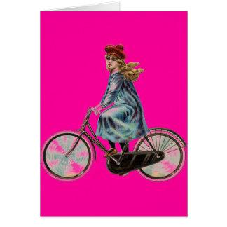 Menina da bicicleta do vintage no rosa de néon cartões
