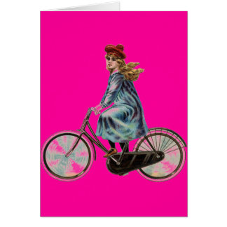 Menina da bicicleta do vintage no rosa de néon cartão comemorativo