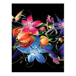 Menina da borboleta da flor cartão postal