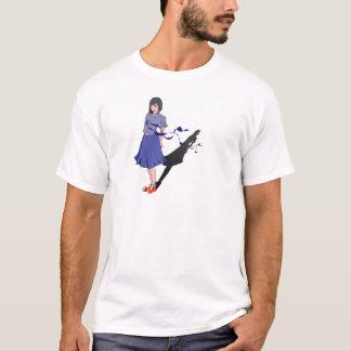 menina da escola sombreada camiseta