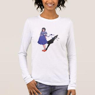 menina da escola sombreada camiseta manga longa