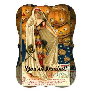 Menina da lanterna do Dia das Bruxas Jack O do Convite Personalizado